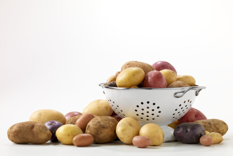 potatoes in colander