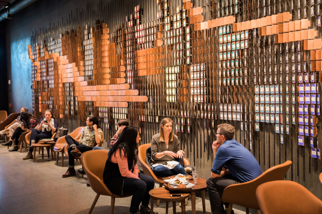 Starbucks partners work in the new Starbucks Reserve store at the Starbucks Support Center in Seattle on Wednesday, February 21, 2018. (Joshua Trujillo, Starbucks)